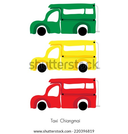 Illustrator  of  Taxi and popular transport in the streets of ChiangMai,  Thailand.