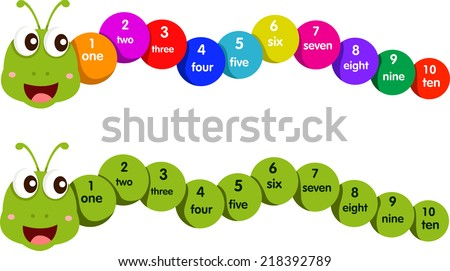 Illustrator of worm with number one to ten - stock vector