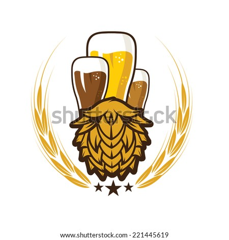 iluustration of glasses with beer - stock vector