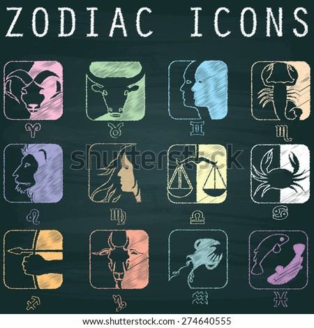 Image about zodiac  is drawing from chalk on the blackboard in vector format. - stock vector