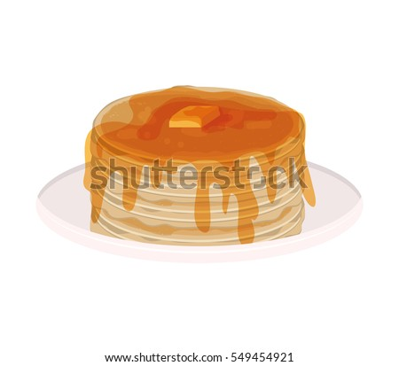 image color with pancakes stacked and syrup