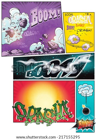 Image comic book pages with different background comic strips and various inscriptions boom - stock vector