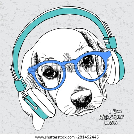 Image dog (beagle) portrait with headphones and a bow. Vector illustration. - stock vector