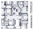 image drawing house plan small square on a white background - stock photo