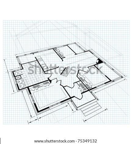 Image drawing house plan small square on a white background - stock vector