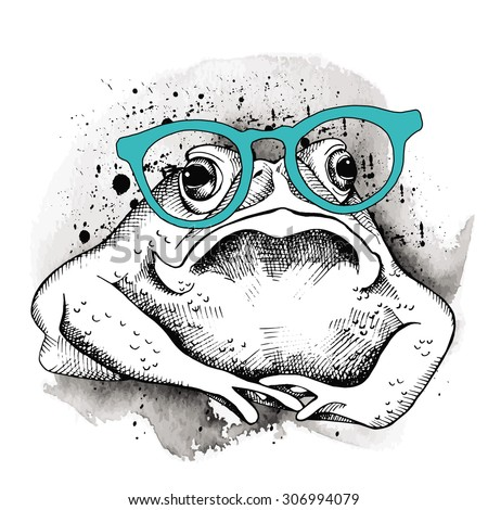 Image frog (toad) in the glasses. Vector illustration. - stock vector