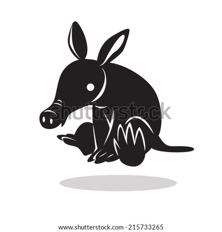 image graphic style of aardvark  isolated on white background - stock vector