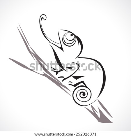 image graphic style of chameleon lizard  isolated on white background - stock vector