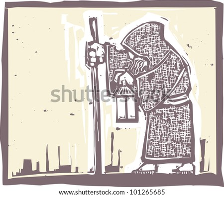 Image of a an old bearded man walking with a lamp in a woodblock print style
