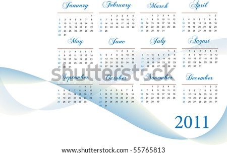 Image of a blue and white themed 2011 calendar. - stock vector