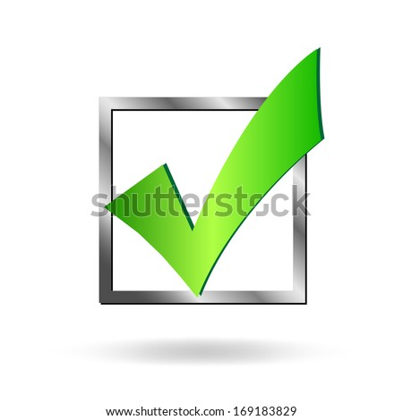 Image of a box being checked by a green check mark isolated on a white background. - stock vector
