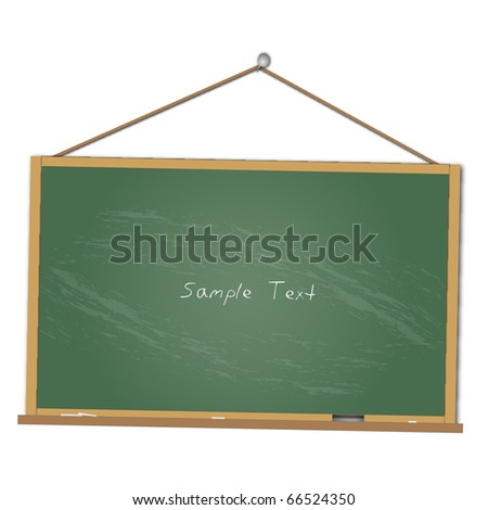 Image of a chalkboard hanging isolated on a white background. - stock vector