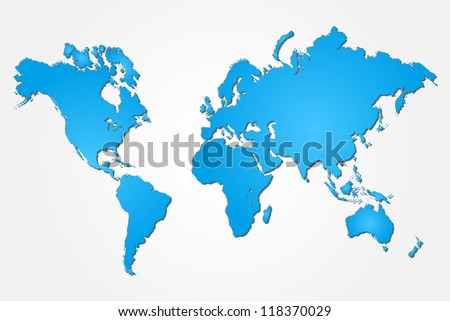 Image of a colorful blue world map isolated on a white background. - stock vector