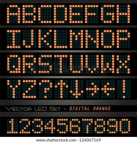 Image of a colorful, orange digital font on a dark background. - stock vector