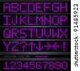 Image of a colorful, purple digital font set. - stock vector