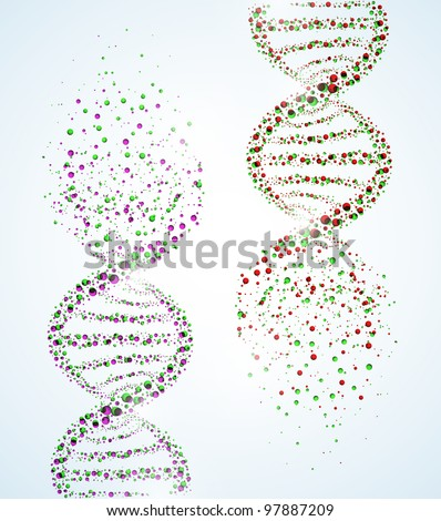 Image of a DNA molecule, showing its destruction. Eps 10 - stock vector