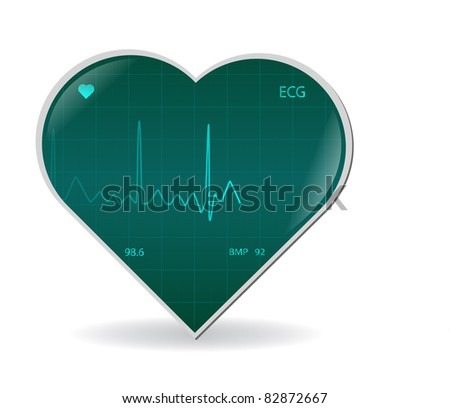 Image of a ECG signal on a heart isolated on a white background. - stock vector