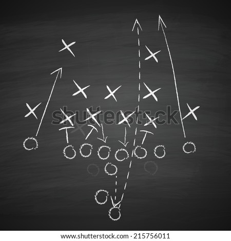 image of a football tactic on blackboard. Transparency effects used.  - stock vector
