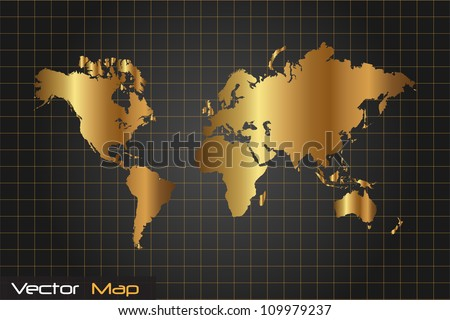 Image Gold Black World Map Vector Stock Vector Royalty Free - Black and gold world map