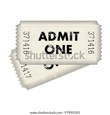 Image of a gray Admit One ticket isolated on a white background. - stock vector