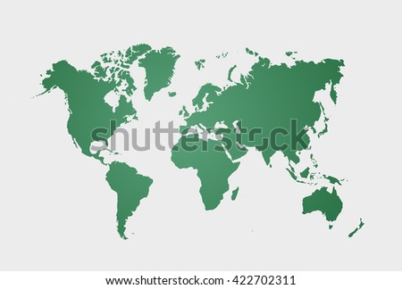 Image of a green vector world map isolated on white background. Vector illustration. EPS 10 - stock vector