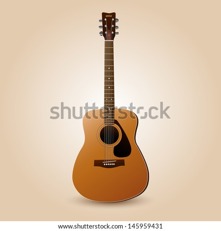 Image of a guitar on a colorful background. - stock vector