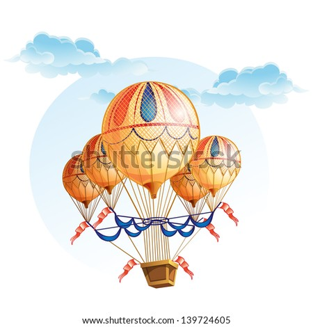 Image of a hot air balloon in the sky - stock vector