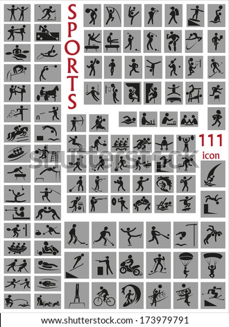 Image of a large number of icons with sports. - stock vector