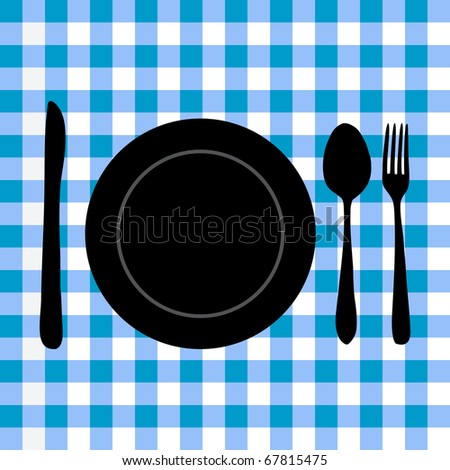 Image of a plate and utensil silhouette on a blue checker background.