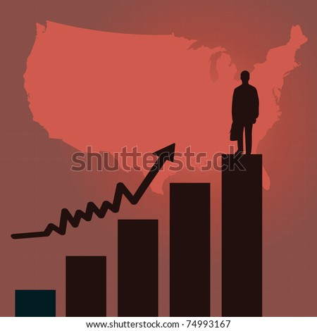 Image Of A Red Business Scene Background With United States Map Business Man Silhouette
