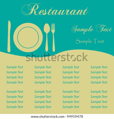 image sample restaurant menu editable text stock vector 94959478