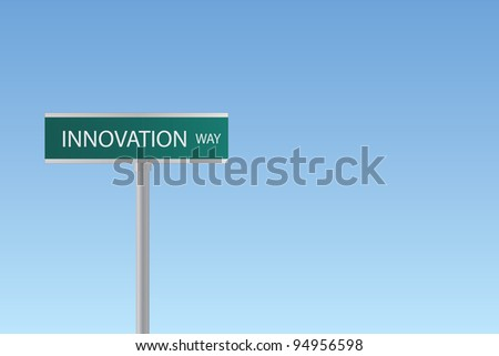 "Image of a sign to ""Innovation Way"" against a blue sky background."