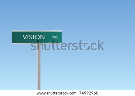 "Image of a sign to ""Vision Way"" against a colorful blue sky background."