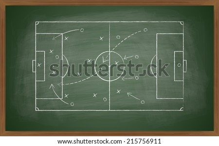 image of a soccer tactic on blackboard. Transparency effects used.  - stock vector
