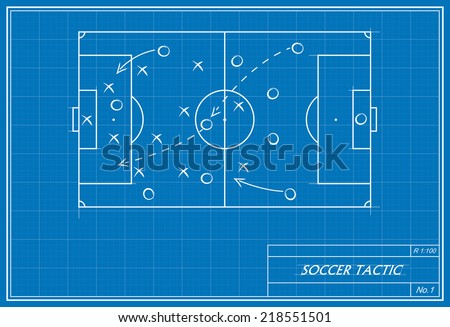 image of a soccer tactic on blueprint. transparency used.