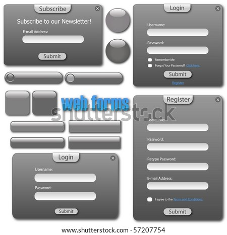 Image of a various grey web forms and buttons. - stock vector