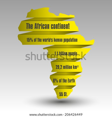 Image of a vector flat African continent - stock vector