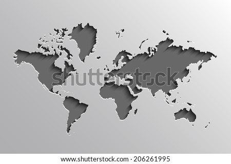 Image of a vector world map - stock vector