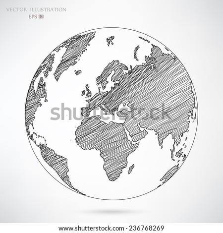 World map earth globe vector line vectores en stock 140921194 image of a vector world map gumiabroncs Choice Image