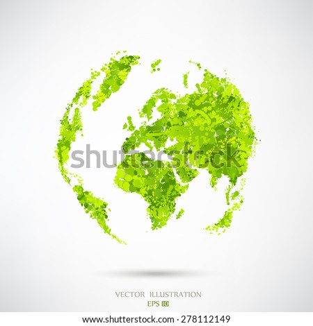 Image of a vector world map. Abstract image of the globe. Blots - stock vector