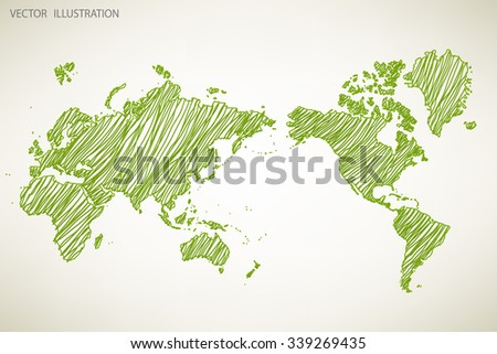 Image of a vector world map. Doodle - stock vector