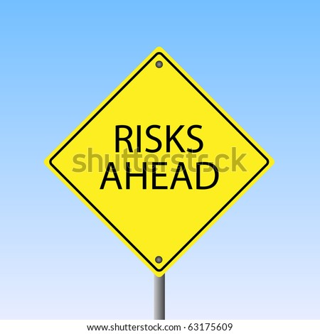 "Image of a yellow ""Risks Ahead"" road sign with a sky background."
