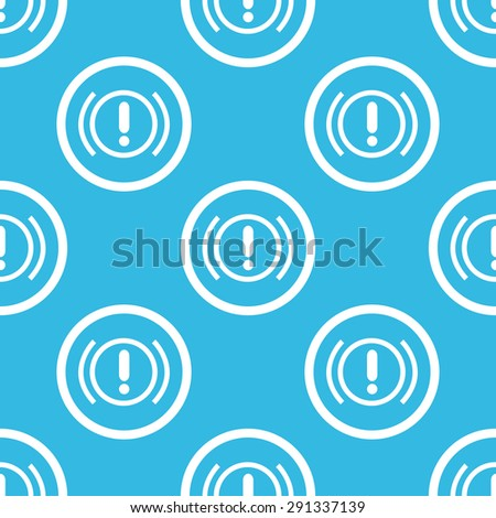 Image of alert sign in circle, repeated on blue background - stock vector