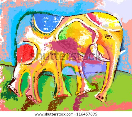 image of an elephant - stock vector