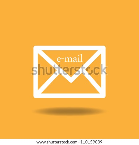 Image of an email icon against a colorful orange background. - stock vector