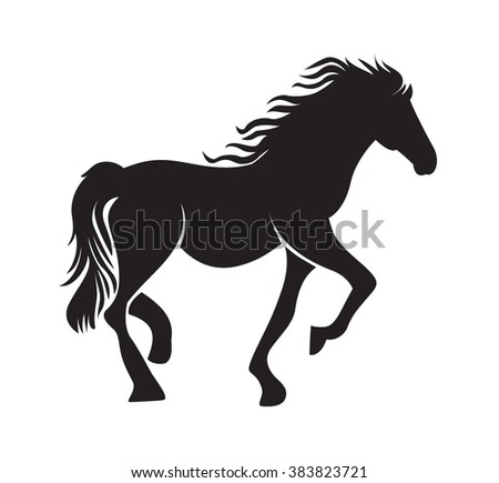 Image of an horse on white background - stock vector