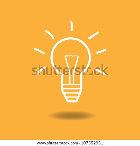 Image of an idea illustration with light bulb against a colorful orange background. - stock vector