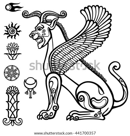 Image Assyrian Winged Animal Horned