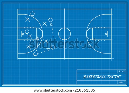 image of basketball tactic on blueprint. Transparency used.  - stock vector