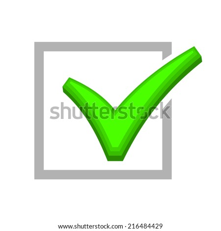 Image of Box Being Checked by Green Check Mark. Vector illustration - stock vector